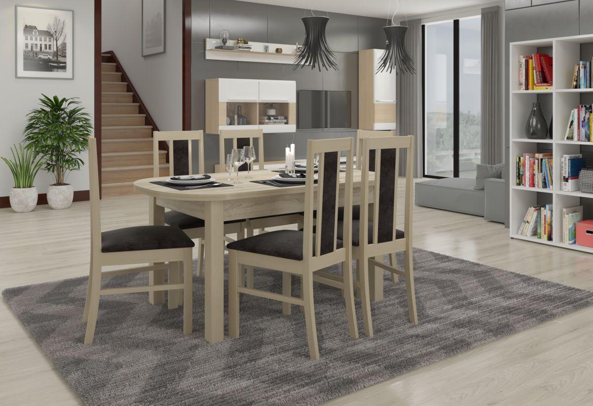 jídelní sestava RODOS 59 - 1 stůl + 6 židlí - Sonoma ADRK