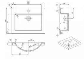 koupelnový set CARLO - Sonoma / Bílý mat, včetně umyvadla a sifonu ADRK