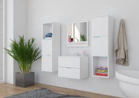 koupelnový set CARLO - Bílý / Bílý lesk
