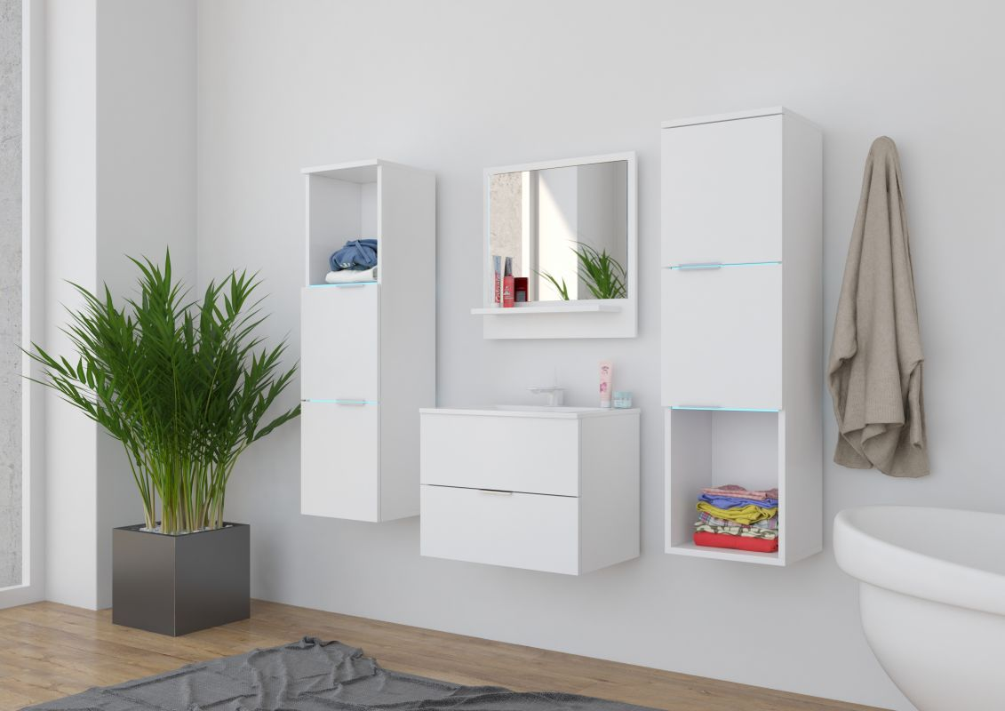 koupelnový set CARLO - Bílý / Bílý mat, včetně umyvadla a sifonu ADRK