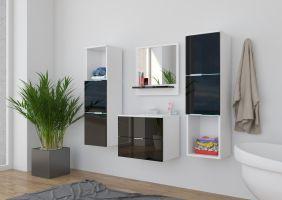koupelnový set CARLO - Bílý / Černý lesk