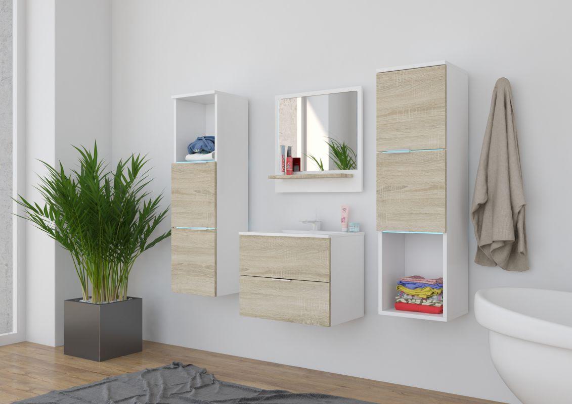 koupelnový set CARLO - Bílý / Sonoma, včetně umyvadla a sifonu ADRK