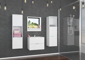 koupelnový set LAURO - Bílý / Bílý lesk