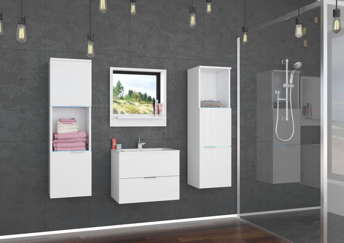 koupelnový set LAURO - Bílý / Bílý lesk, včetně umyvadla a sifonu ADRK