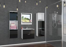 koupelnový set LAURO - Bílý / Černý lesk