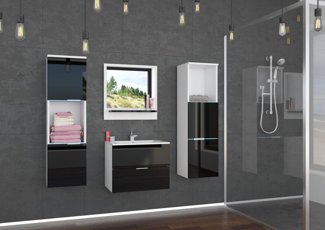 koupelnový set LAURO - Bílý / Černý lesk, včetně umyvadla a sifonu ADRK