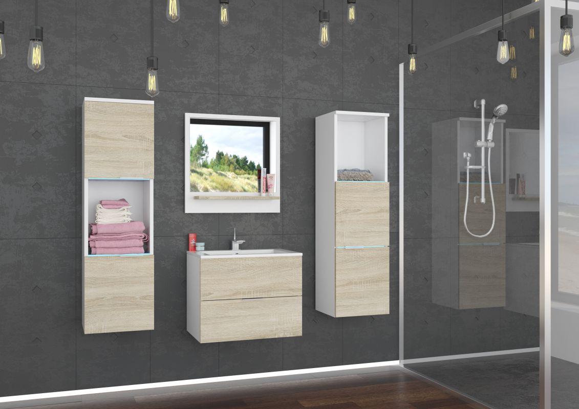koupelnový set LAURO - Bílý / Sonoma, včetně umyvadla a sifonu ADRK