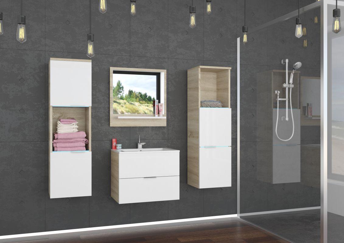 koupelnový set LAURO - Sonoma / Bílý lesk, včetně umyvadla a sifonu ADRK