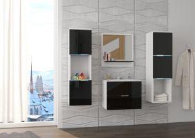 koupelnový set NESTO - Bílý / Černý lesk