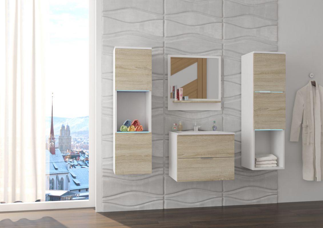 koupelnový set NESTO - Bílý / Sonoma, včetně umyvadla a sifonu ADRK