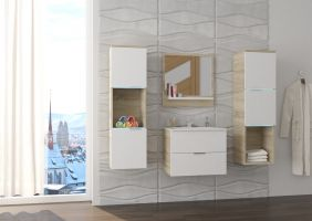 koupelnový set NESTO - Sonoma / Bílý lesk