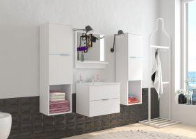 koupelnový set POLO - Bílý / Bílý lesk