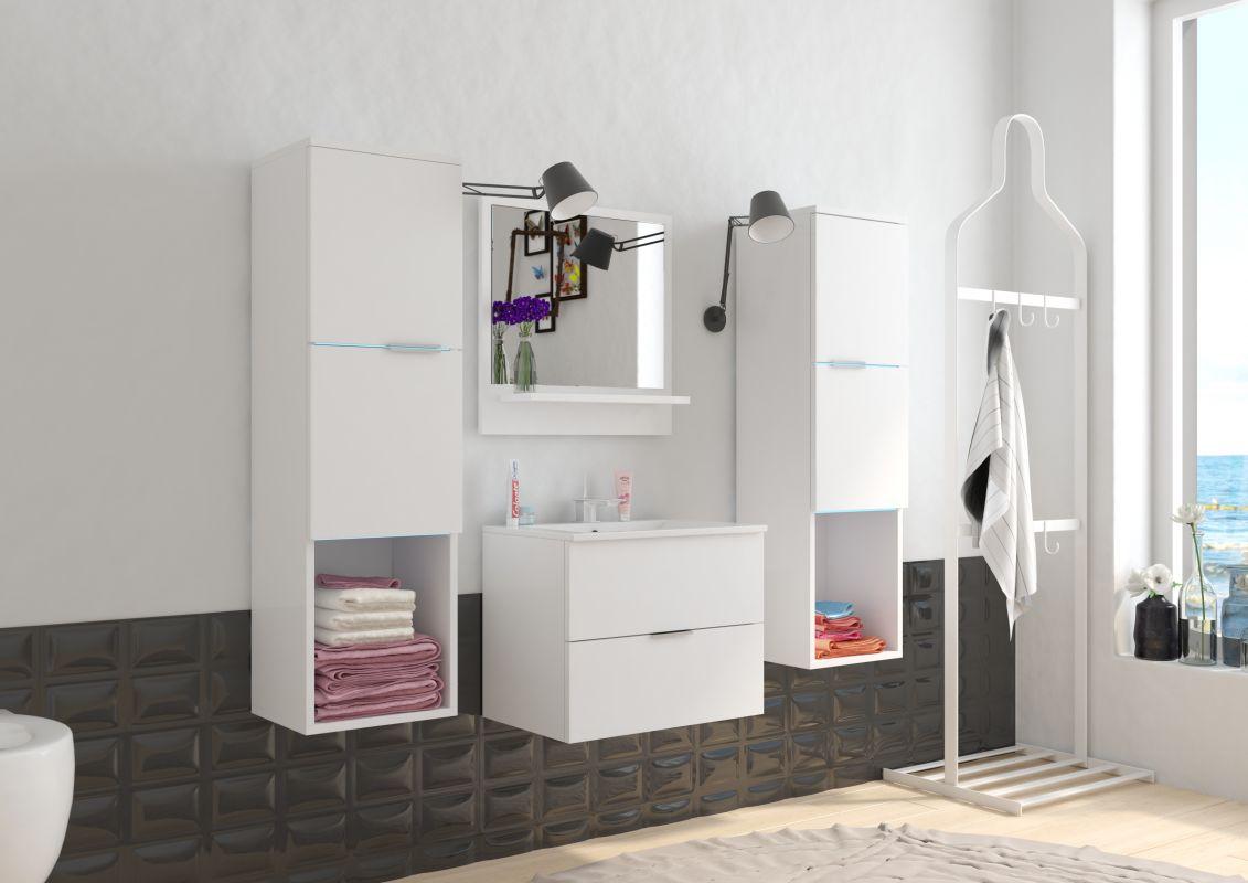 koupelnový set POLO - Bílý / Bílý lesk, včetně umyvadla a sifonu ADRK