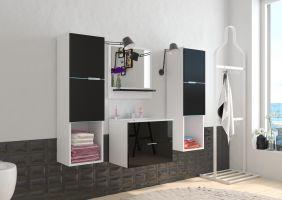 koupelnový set POLO - Bílý / Černý lesk