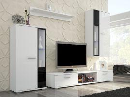 obývací stěna LEON - bílý lesk