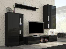 obývací stěna LEON - černý lesk
