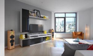 obývací stěna MIRKO - bílá / černý lesk