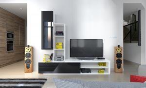 obývací stěna NADIA - bílá / černý lesk