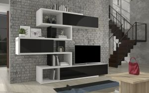 obývací stěna TERENS - bílá / černý lesk