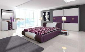 ložnice RIVA II - komplet  - skříň 200cm - bílý/fialový lesk
