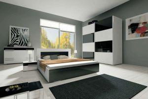 ložnice HAVANA II - komplet  - skříň 200 cm - bílý/černý lesk