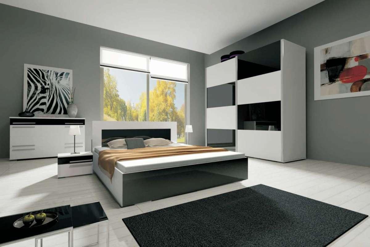 ložnice HAVANA II - komplet - skříň 200 cm - bílý/fialový lesk KAROL MEBLE