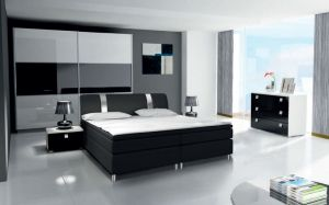 ložnice RIVA III - komplet  - skříň 200cm - bílý/černý lesk