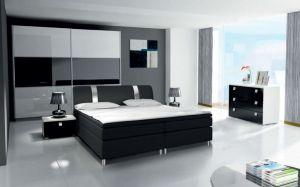 ložnice RIVA III - komplet  - skříň 240cm - bílý/bílý lesk
