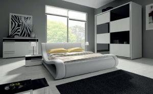 ložnice HAVANA III - komplet  - skříň 200cm - bílý/černý lesk