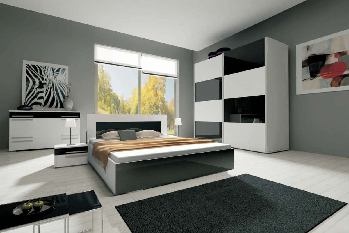 ložnice HAVANA II - komplet - skříň 200cm - bílý/bílý lesk KAROL MEBLE