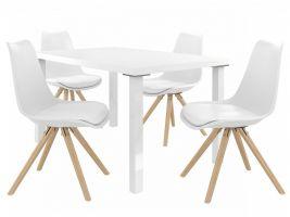 Jídelní set Amareto 1+4 židlí - bílá/bílá