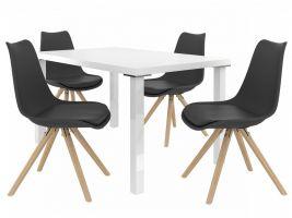 Jídelní set Amareto 1+4 židlí - bílá/černá