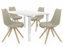 Jídelní set Amareto 1+4 židlí - bílá/khaki