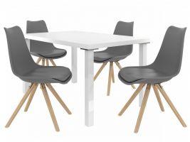 Jídelní set Amareto 1+4 židlí - bílá/popel