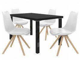 Jídelní set Amareto 1+4 židlí - černá/bílá