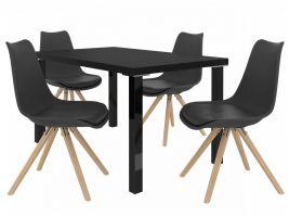 Jídelní set Amareto 1+4 židlí - černá/černá
