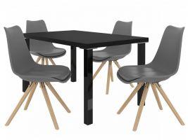 Jídelní set Amareto 1+4 židlí - černá/popel