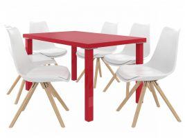 Jídelní set Amareto 1+4 židlí - červená/bílá