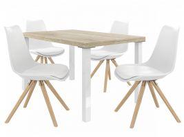 Jídelní set Amareto 1+4 židlí - sonoma/bílá