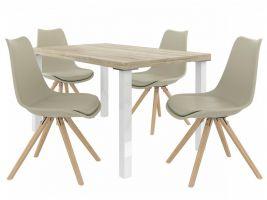 Jídelní set Amareto 1+4 židlí - sonoma/khaki