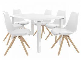 Jídelní set Amareto 1+6 židlí - bílá/bílá