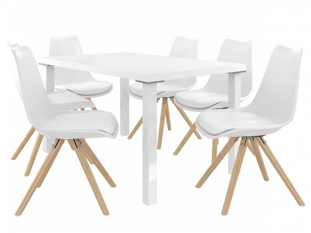 Jídelní set Amareto 1+6 židlí - bílá/bílá BELINI