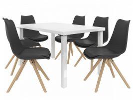 Jídelní set Amareto 1+6 židlí - bílá/černá