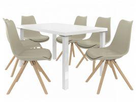 Jídelní set Amareto 1+6 židlí - bílá/khaki