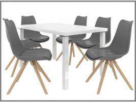Jídelní set Amareto 1+6 židlí - bílá/popel