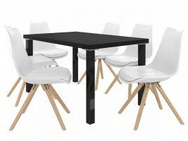 Jídelní set Amareto 1+6 židlí - černá/bílá