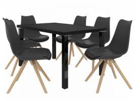 Jídelní set Amareto 1+6 židlí - černá/černá