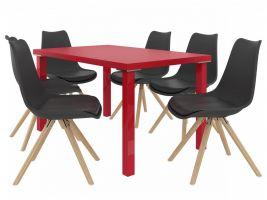 Jídelní set Amareto 1+6 židlí - červená/černá