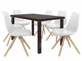 Jídelní set Amareto 1+6 židlí - kaštan/bílá