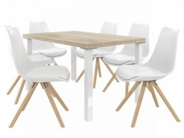 Jídelní set Amareto 1+6 židlí - sonoma/bílá